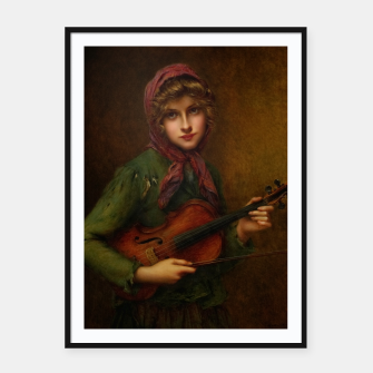 Thumbnail image of The Young Violin Player by Francois Martin-Kavel Framed poster, Live Heroes