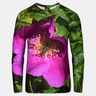 Thumbnail image of  wild rose with bee Bluza unisex, Live Heroes