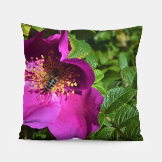 Thumbnail image of  wild rose with bee Poduszka, Live Heroes
