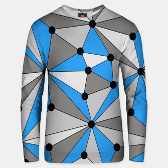 Thumbnail image of Abstract geometric pattern - blue, gray and white. Unisex sweater, Live Heroes