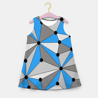 Miniature de image de Abstract geometric pattern - blue, gray and white. Girl's summer dress, Live Heroes