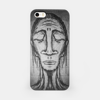 Miniatur Senior Human Portrait Black and White Drawing iPhone Case, Live Heroes