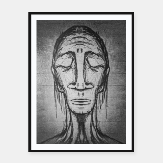 Miniatur Senior Human Portrait Black and White Drawing Framed poster, Live Heroes