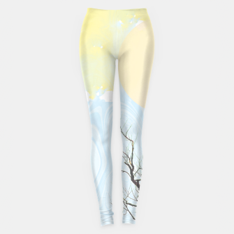 Trees and colourful sky Leggings Bild der Miniatur