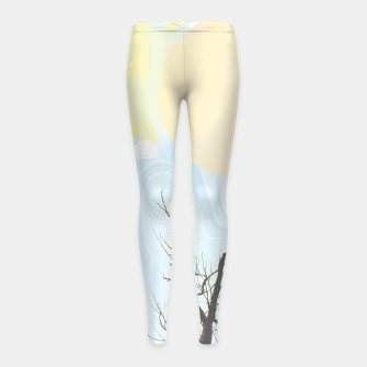 Trees and colourful sky Girl's leggings Bild der Miniatur