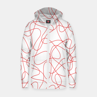 Abstract pattern - red and white. Zip up hoodie thumbnail image