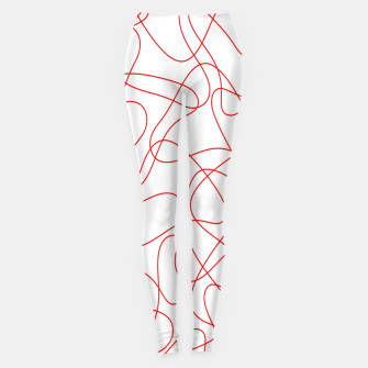 Abstract pattern - red and white. Leggings thumbnail image