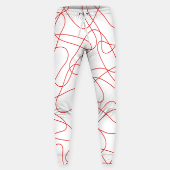Abstract pattern - red and white. Sweatpants thumbnail image