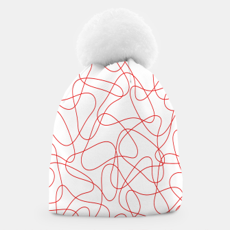 Abstract pattern - red and white. Beanie thumbnail image