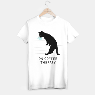 Miniatur Black Cat on Coffee Therapy T-shirt regular, Live Heroes