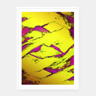 Thumbnail image of Fractured anger yellow Framed poster, Live Heroes