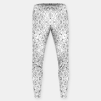 Miniatur Black and White Modern Ornate Pattern Sweatpants, Live Heroes