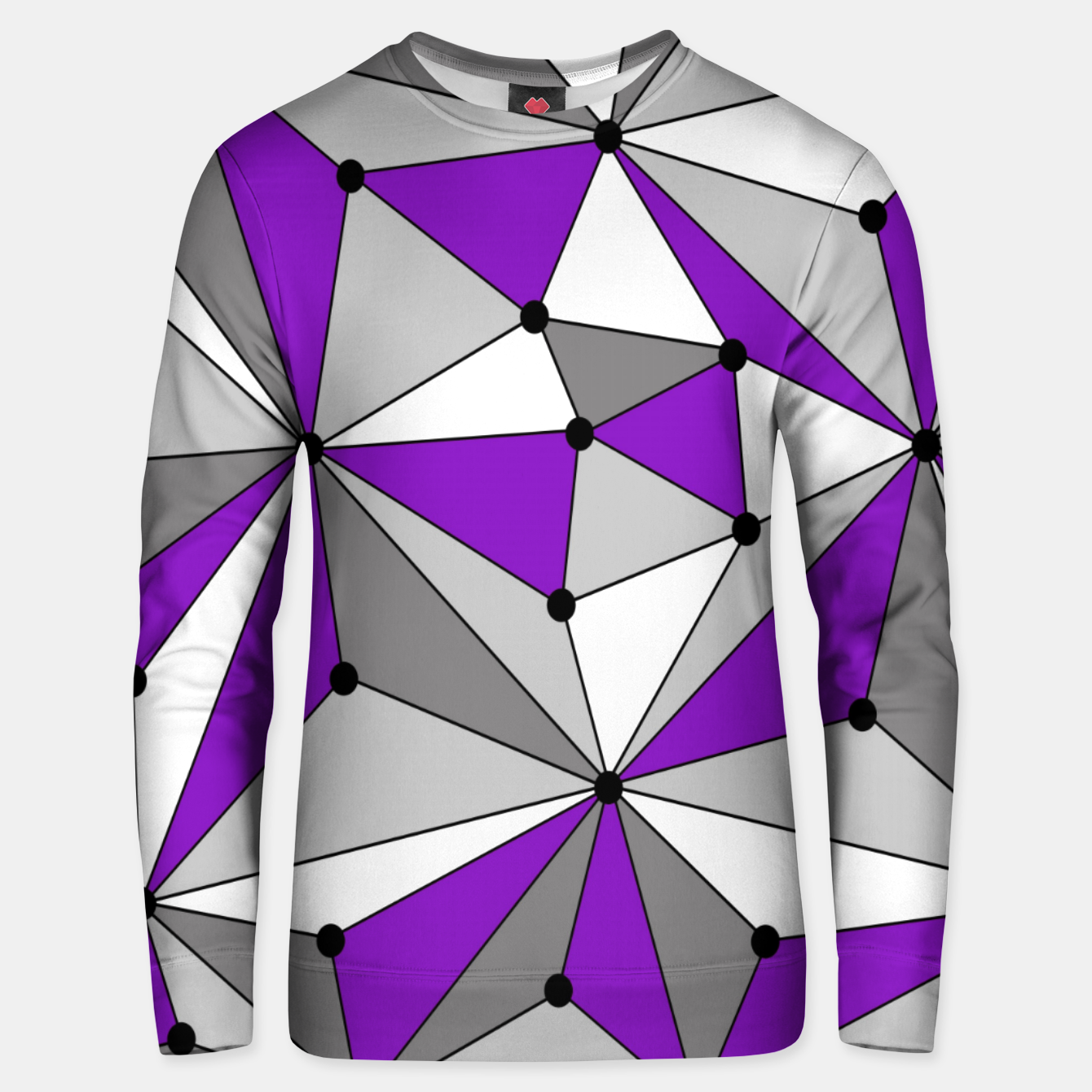 Image of Abstract geometric pattern - gray and purple. Unisex sweater - Live Heroes