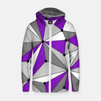 Abstract geometric pattern - gray and purple. Zip up hoodie thumbnail image