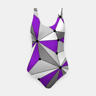 Abstract geometric pattern - gray and purple. Swimsuit thumbnail image