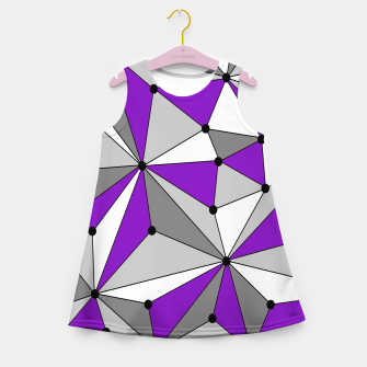 Abstract geometric pattern - gray and purple. Girl's summer dress thumbnail image