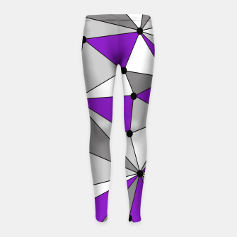 Abstract geometric pattern - gray and purple. Girl's leggings thumbnail image