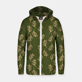 Thumbnail image of Feeling of lightness Pattern II - Pine needle green Zip up hoodie, Live Heroes