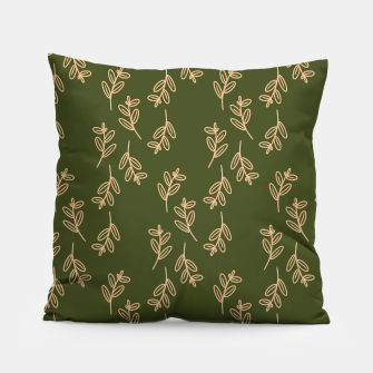 Thumbnail image of Feeling of lightness Pattern II - Pine needle green Pillow, Live Heroes