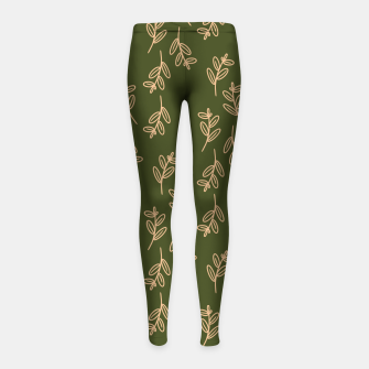 Thumbnail image of Feeling of lightness Pattern II - Pine needle green Girl's leggings, Live Heroes