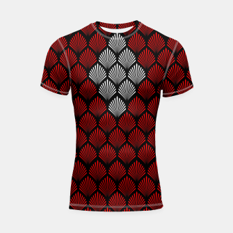 Thumbnail image of Abstract Diamond Feathers Shortsleeve rashguard, Live Heroes