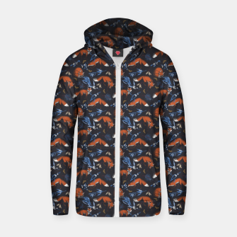 Thumbnail image of Foxes landscape at night 1 Sudadera con capucha y cremallera , Live Heroes
