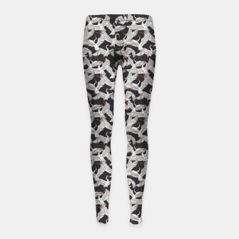 Thumbnail image of Flock of crane birds-dark Leggings para niña, Live Heroes