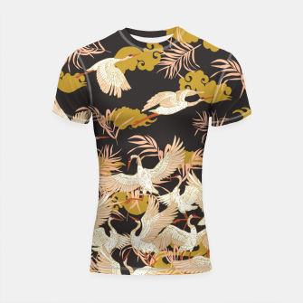 Thumbnail image of Cranes dance at night Shortsleeve rashguard, Live Heroes