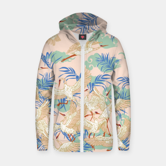 Thumbnail image of Cranes dance tropical I Sudadera con capucha y cremallera , Live Heroes