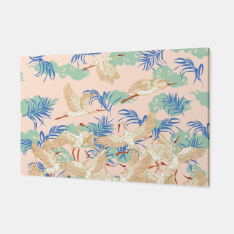 Thumbnail image of Cranes dance tropical I Canvas, Live Heroes
