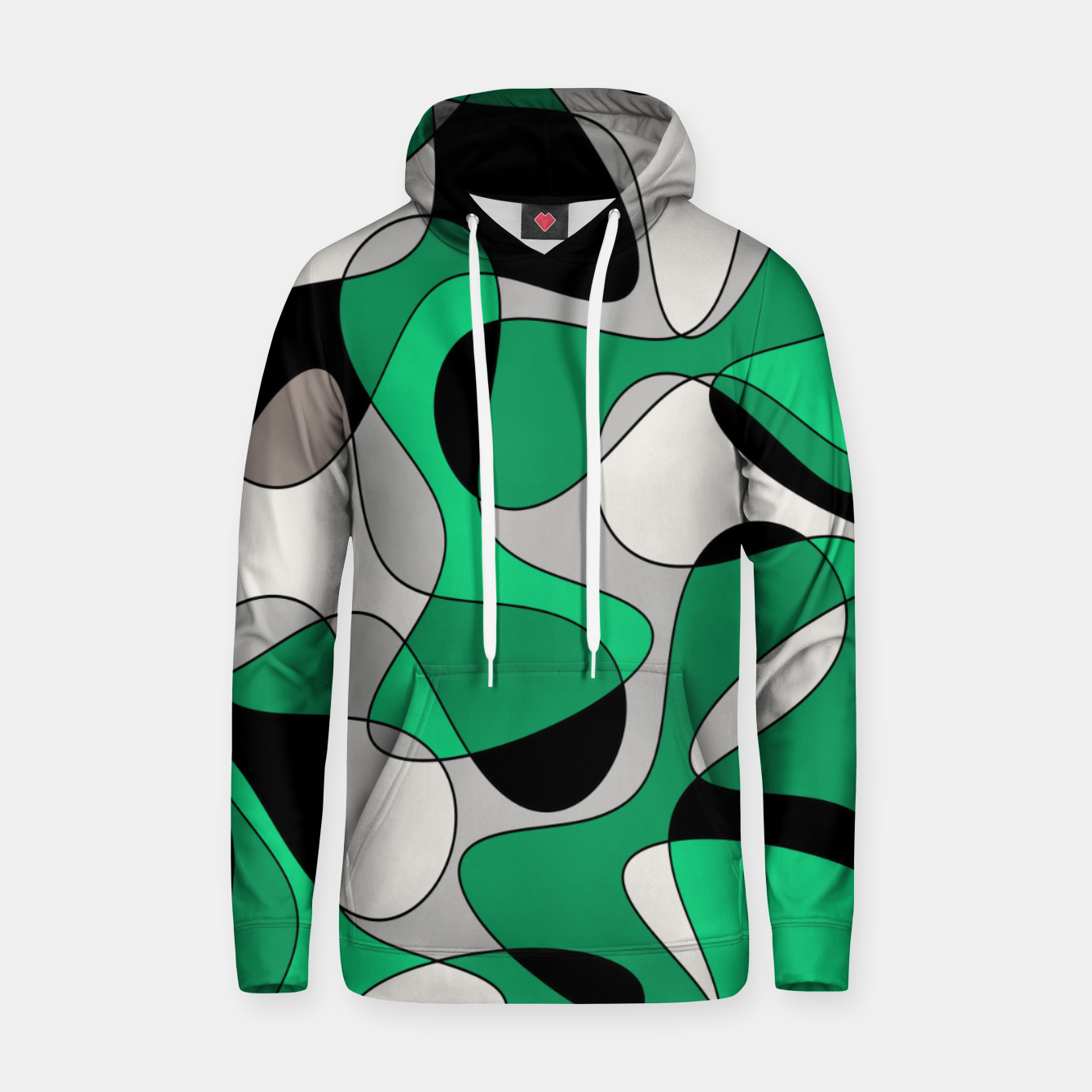 Image of Abstract pattern - gray and green. Hoodie - Live Heroes