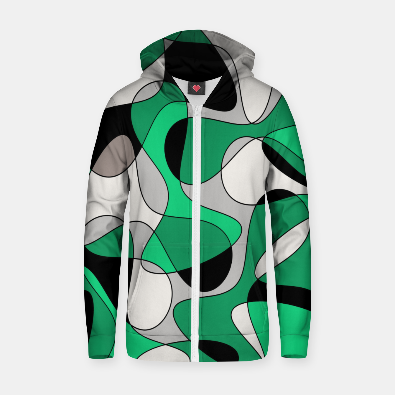 Image of Abstract pattern - gray and green. Zip up hoodie - Live Heroes