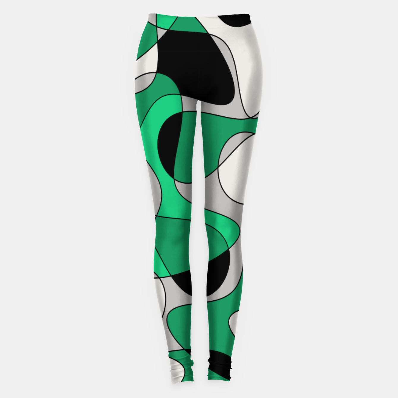 Image of Abstract pattern - gray and green. Leggings - Live Heroes