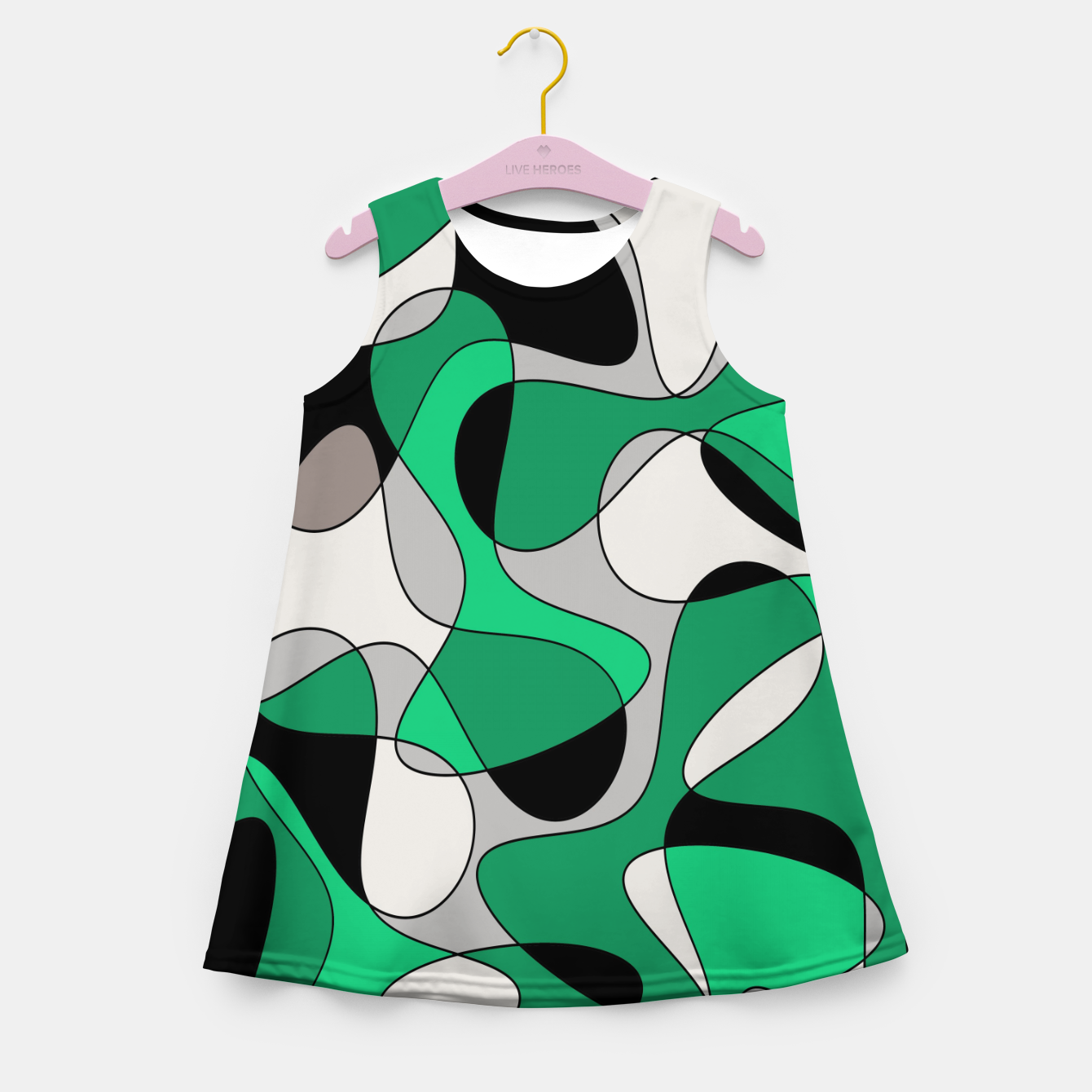 Foto Abstract pattern - gray and green. Girl's summer dress - Live Heroes