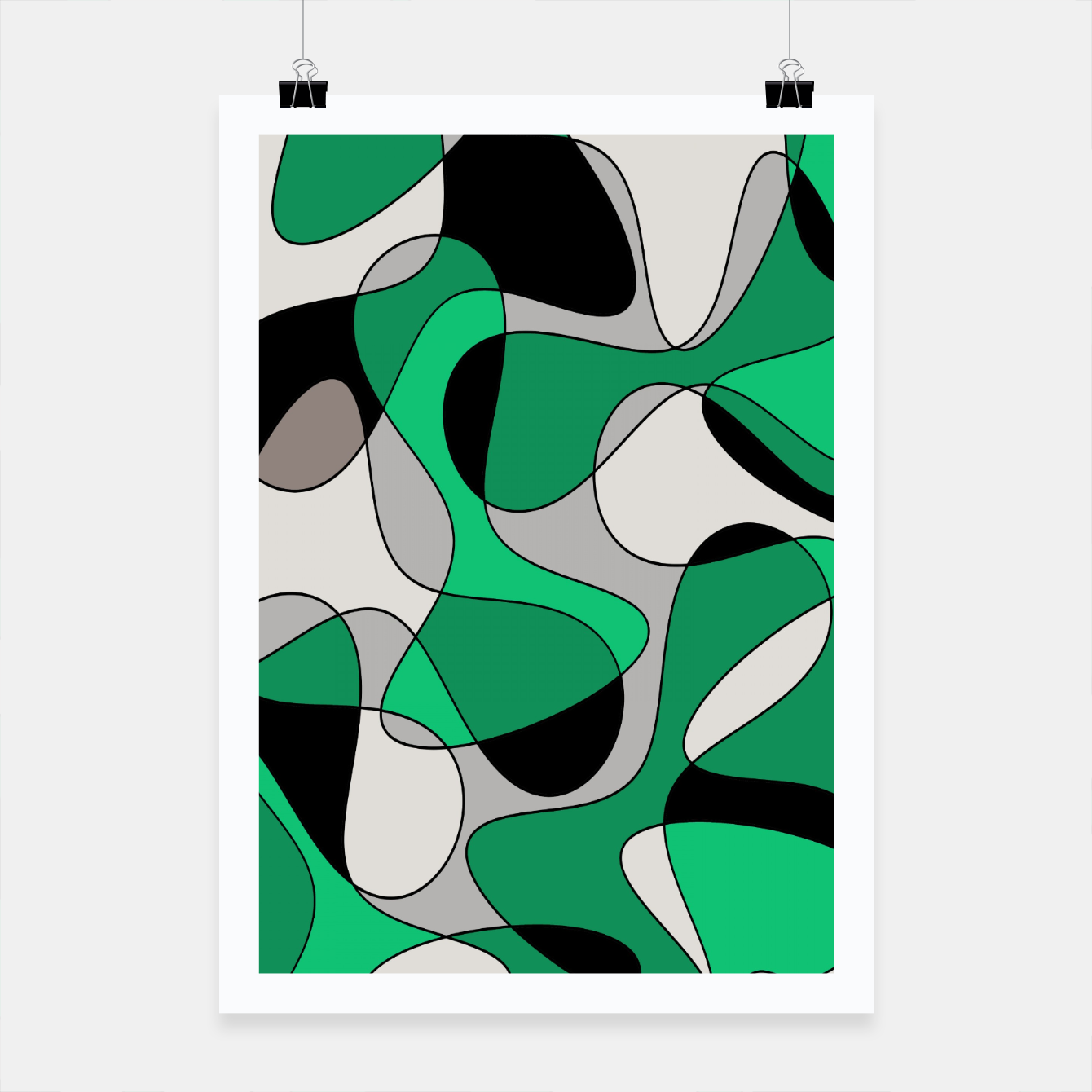 Image of Abstract pattern - gray and green. Poster - Live Heroes