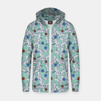 Flock of asian cranes birds Sudadera con capucha y cremallera  miniature