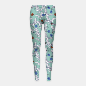 Flock of asian cranes birds Leggings para niña miniature