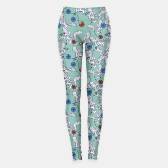 Flock of asian cranes birds Leggings miniature
