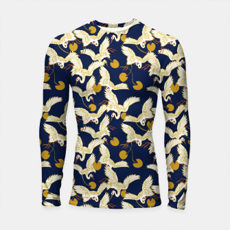 Miniature de image de Flock of dark Asian crane birds Longsleeve rashguard, Live Heroes