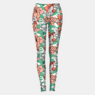 Thumbnail image of Cranes on flowers Leggings, Live Heroes