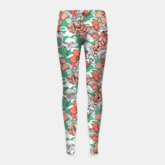 Thumbnail image of Cranes on flowers Leggings para niña, Live Heroes