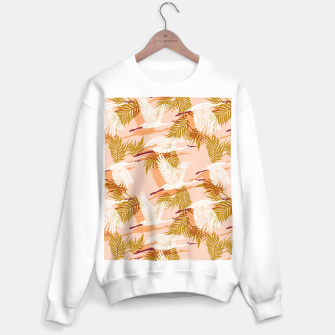 Flock of crane birds pink I Sudadera regular Bild der Miniatur