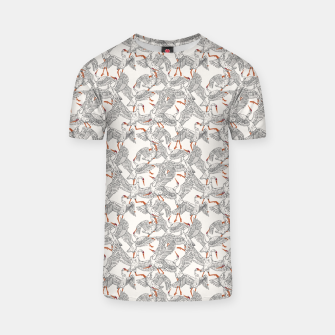 Flying flock of crane birds Camiseta Bild der Miniatur