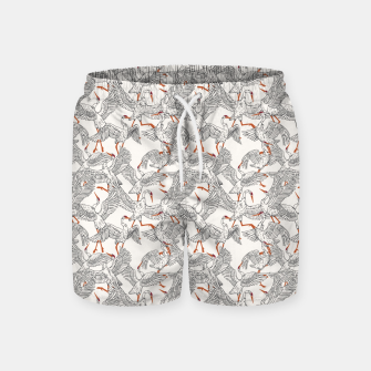 Miniatur Flying flock of crane birds Pantalones de baño, Live Heroes