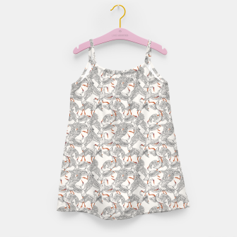 Flying flock of crane birds Vestido para niñas Bild der Miniatur