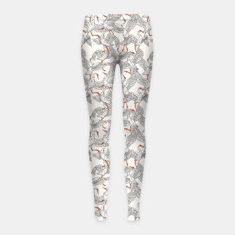 Flying flock of crane birds Leggings para niña Bild der Miniatur