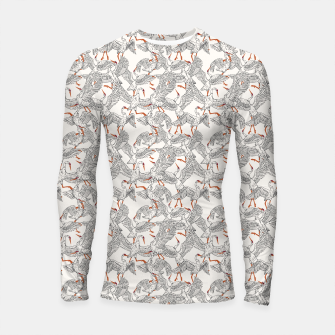 Flying flock of crane birds Longsleeve rashguard Bild der Miniatur