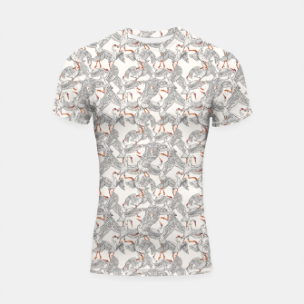 Flying flock of crane birds Shortsleeve rashguard Bild der Miniatur