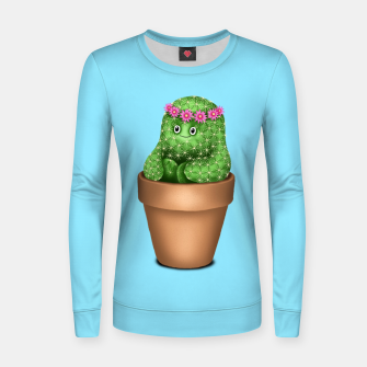 Cute Cactus (Blue Background) Women sweater miniature