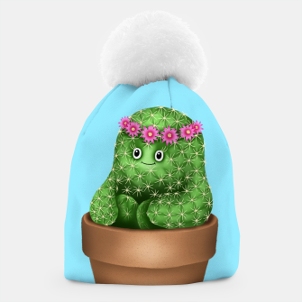 Thumbnail image of Cute Cactus (Blue Background) Beanie, Live Heroes